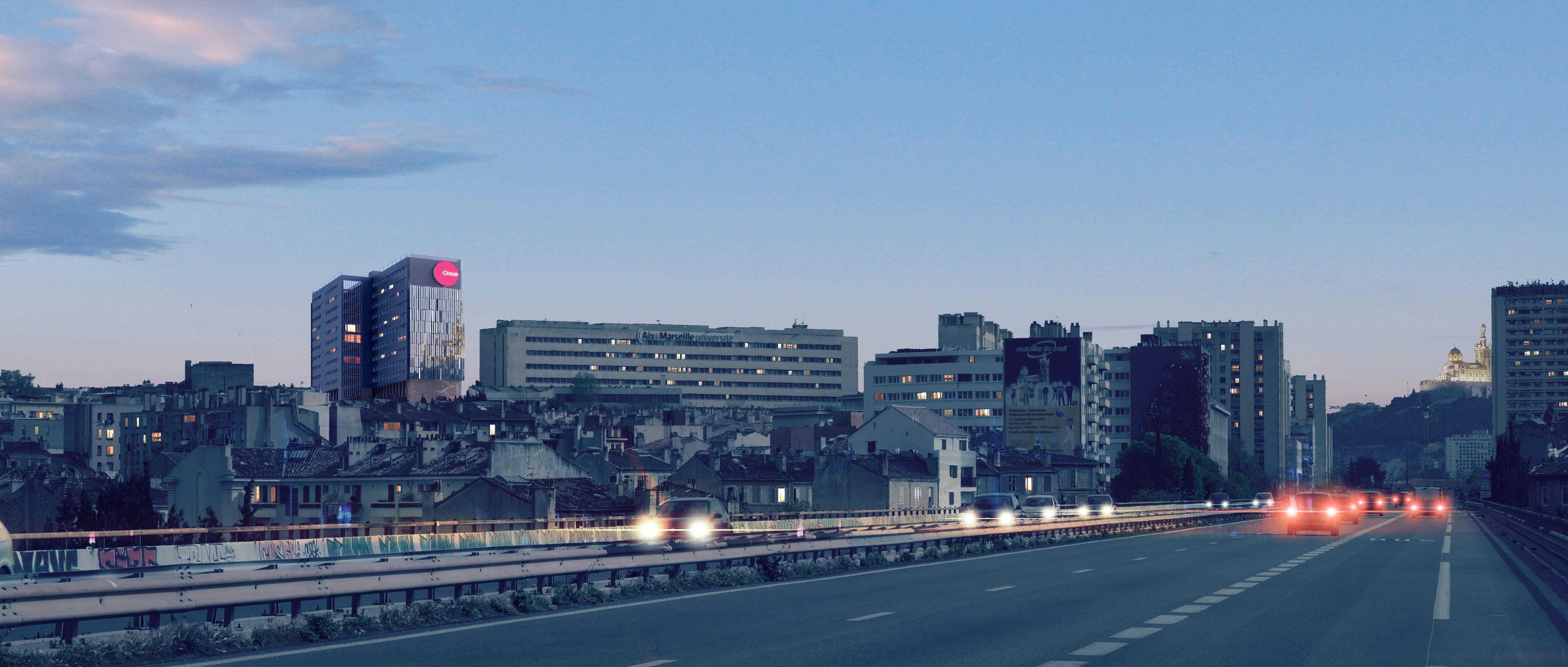 CROUS-Gaston-Berger-Marseille-vue-autoroute-©ILR-Architecture